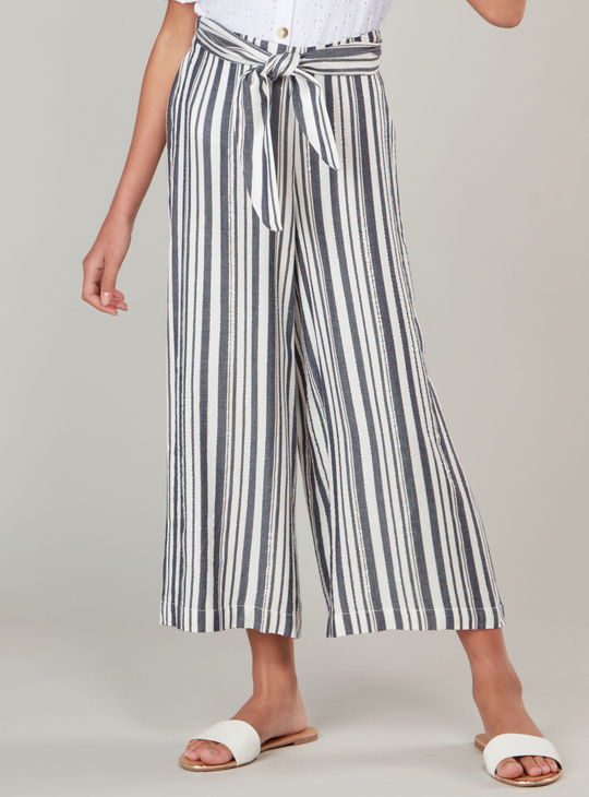 Striped Culotte Pants with Drawstring Waist