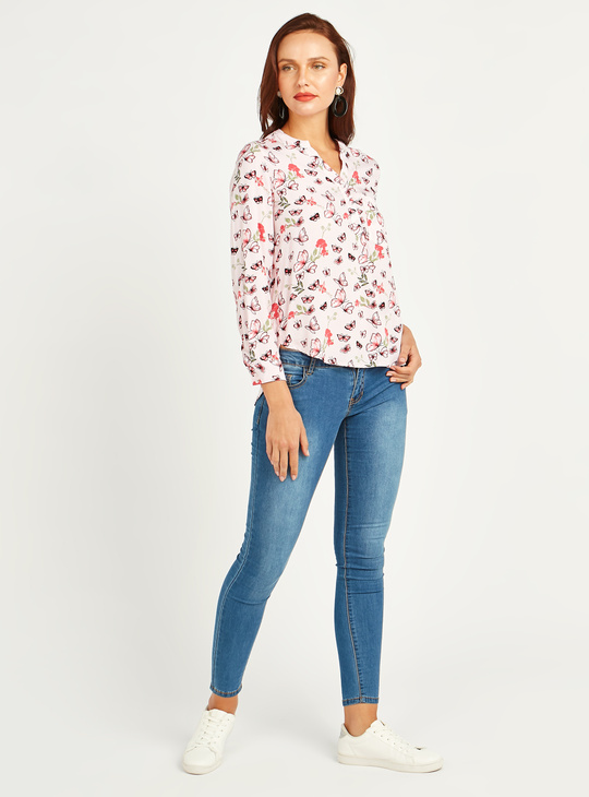 All Over Printed Shirt with Long Sleeves and Chest Pocket