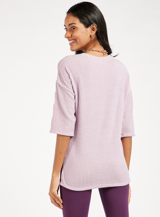 Textured Round Neck Top with 3/4 Sleeves
