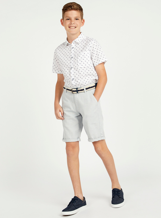 Printed Shirt with Short Sleeves and Chest Pocket