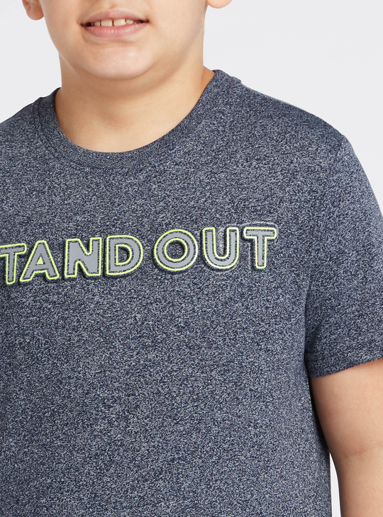 Embossed Print T-shirt with Short Sleeves