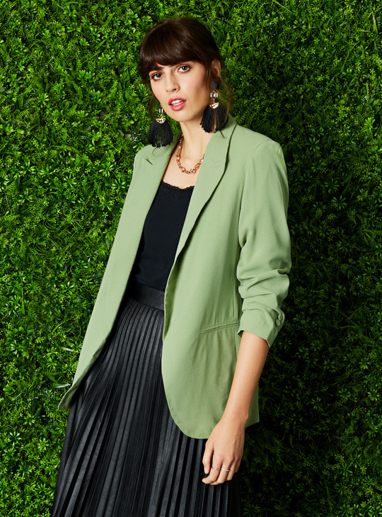Solid Blazer with Notched Lapel and Long Sleeves
