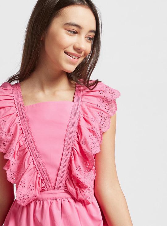 Schiffli Detail Tiered Sleeveless Dress with Tie-Ups