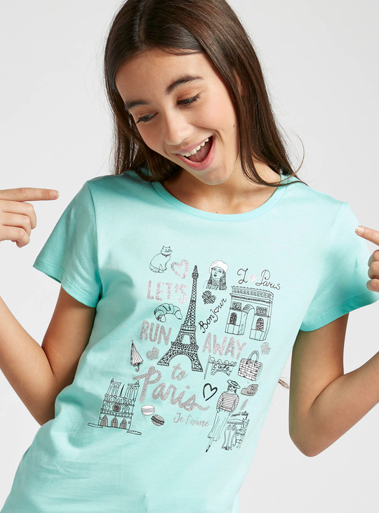 Paris Print Round Neck T-shirt with Short Sleeves
