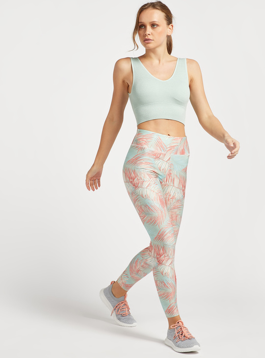 Slim Fit All-Over Tropical Print High-Rise Leggings