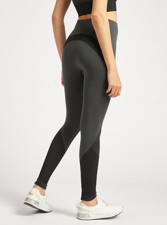 Colour Block High Rise Full length Leggings with Elasticated Waistband