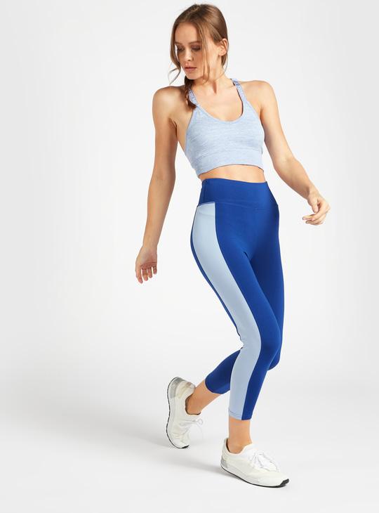 Slim Fit Solid High-Rise Capri Leggings with Side Panels