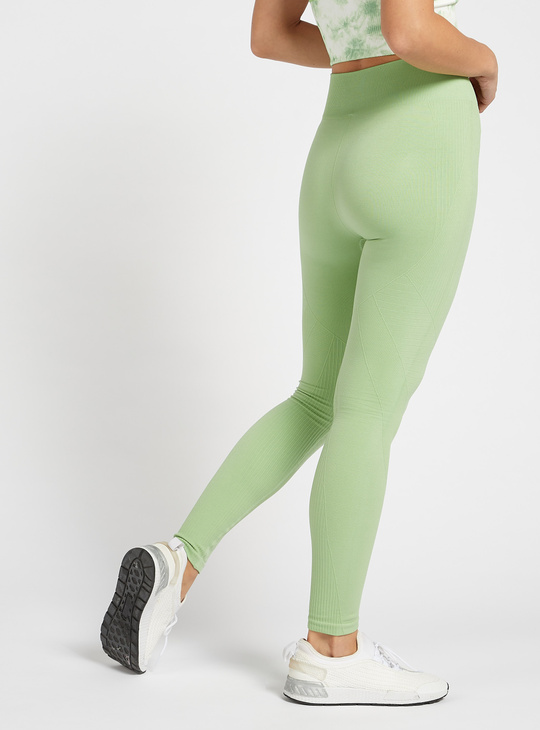 Slim Fit Full length Seamless Jacquard Leggings with Elasticated Waist