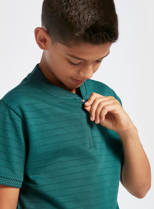 Bomber Collar Half Zip Polo T-shirt with Short Sleeves