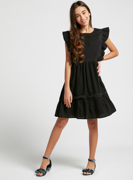 Textured Lace Woven Dress with Round Neck