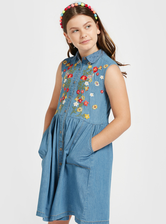 Floral Embroidered Sleeveless Chambray Dress with Button Closure