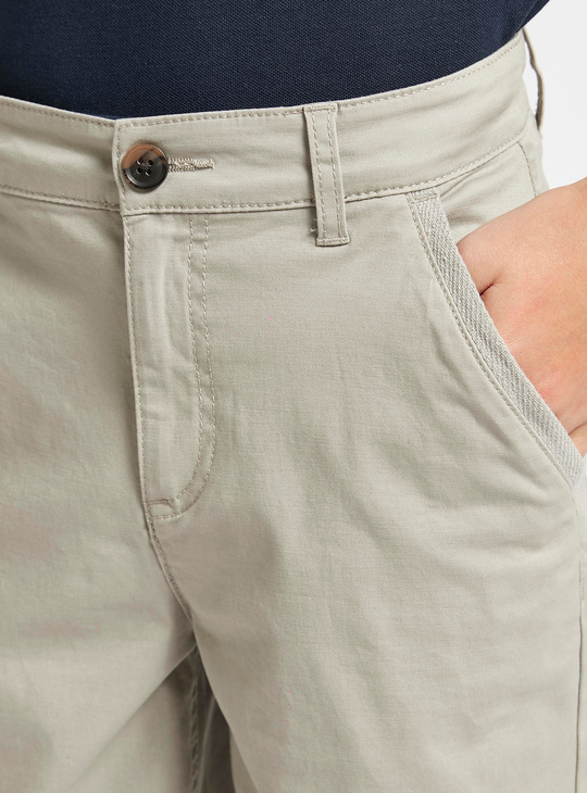 Solid Chinos Shorts with Pockets and Button Closure
