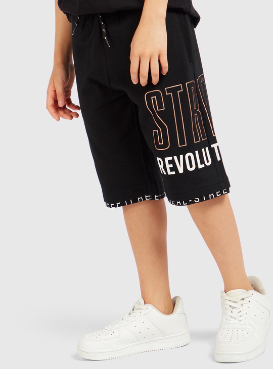 Placement Print Shorts with Elasticated Drawstring Waistband