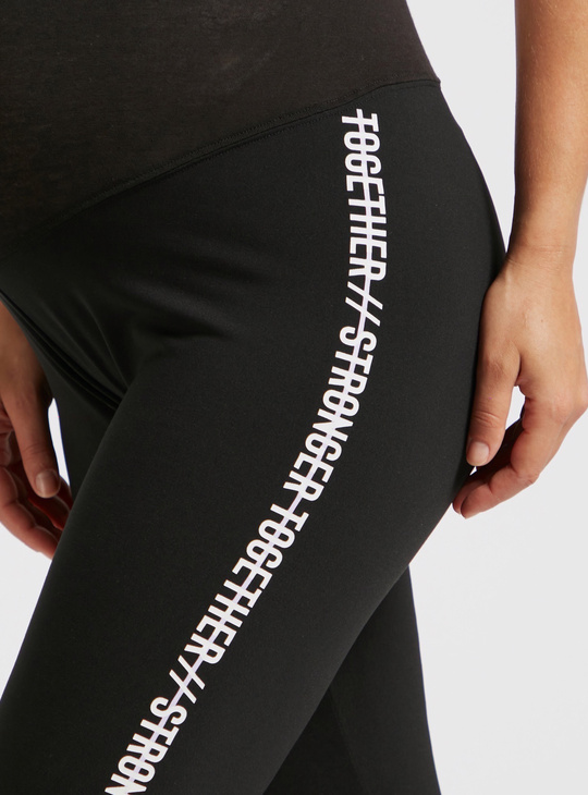 Slim Fit Text Print Mid-Rise Maternity Leggings with Elasticised Waist