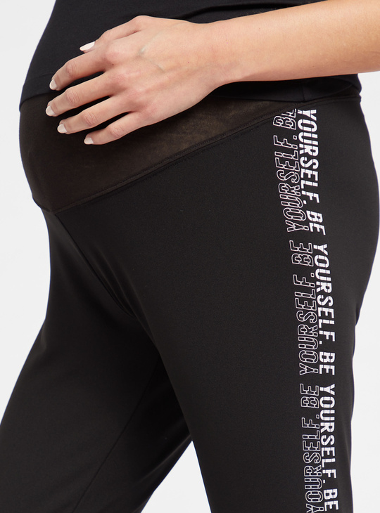 Slim Fit Mid-Rise Maternity Leggings with Side Print
