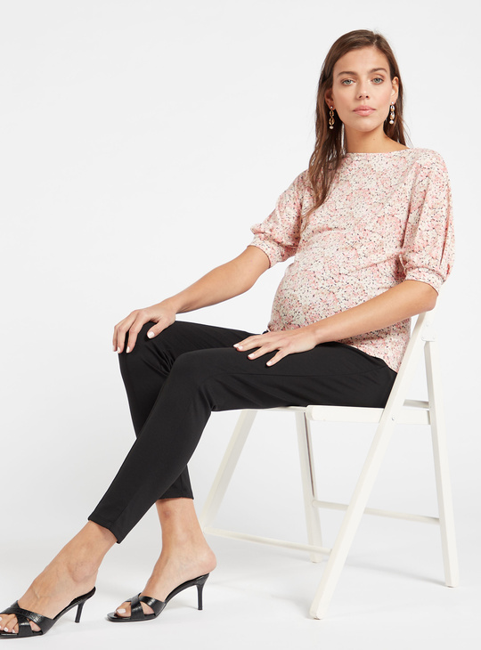 Solid Mid-Rise Ankle-Length Ponte Leggings