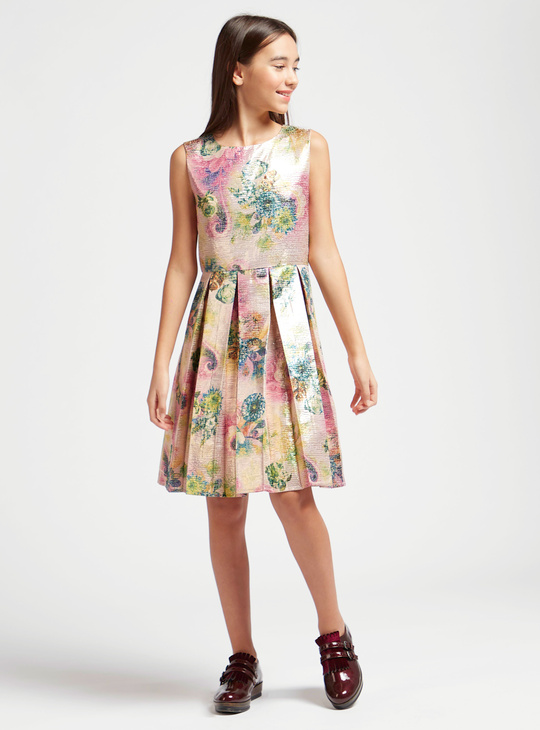 Floral Print Jacquard Sleeveless Knee Length Dress with Round Neck