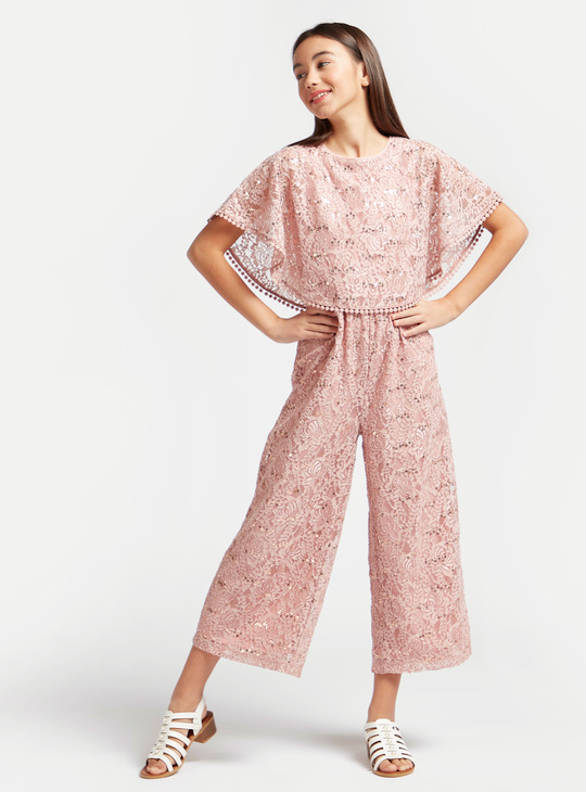 Sequinned Cape Cropped Lace Jumpsuit with Short Sleeves