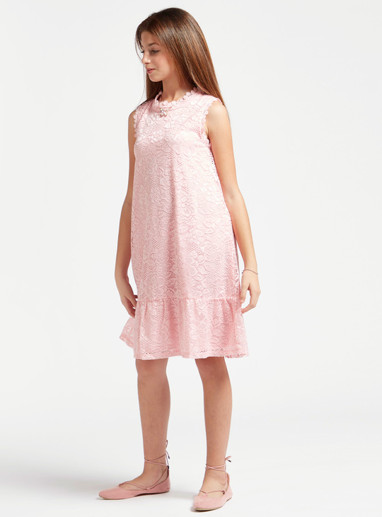 Lace Detail Knee Length Tiered Sleeveless Dress with High Neck