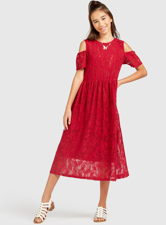 Lace Detail Cold Shoulder Midi Dress with Short Sleeves