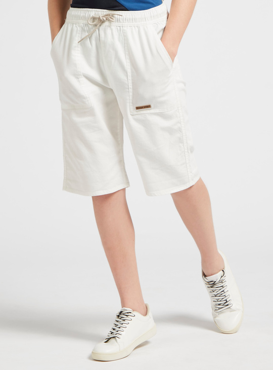 Solid Pull-On Shorts with Patch Pocket Detail and Drawstring Closure