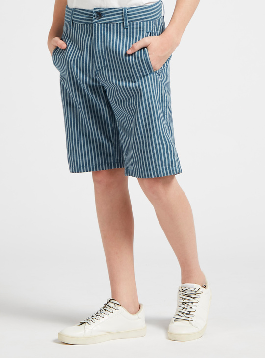 Striped Shorts with Pocket Detail and Button Closure
