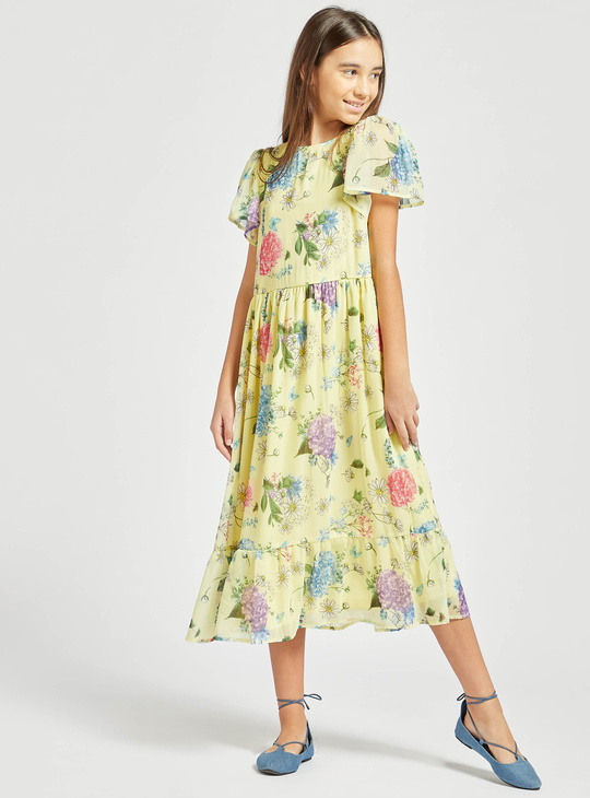 Floral Print Midi Dress with Short Sleeves