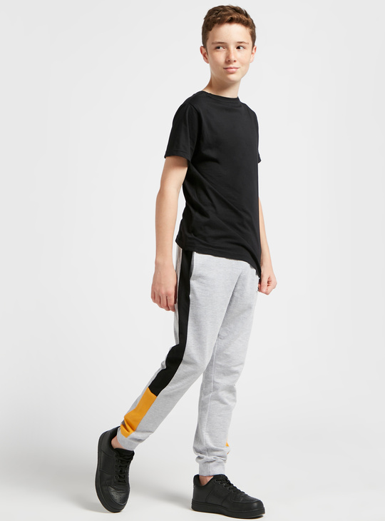 Solid Joggers with Drawstring and Side Panel