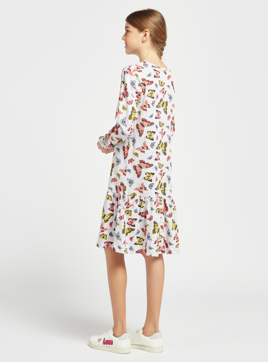 Butterfly Print Knee-Length Round Neck Tiered Dress with Long Sleeves