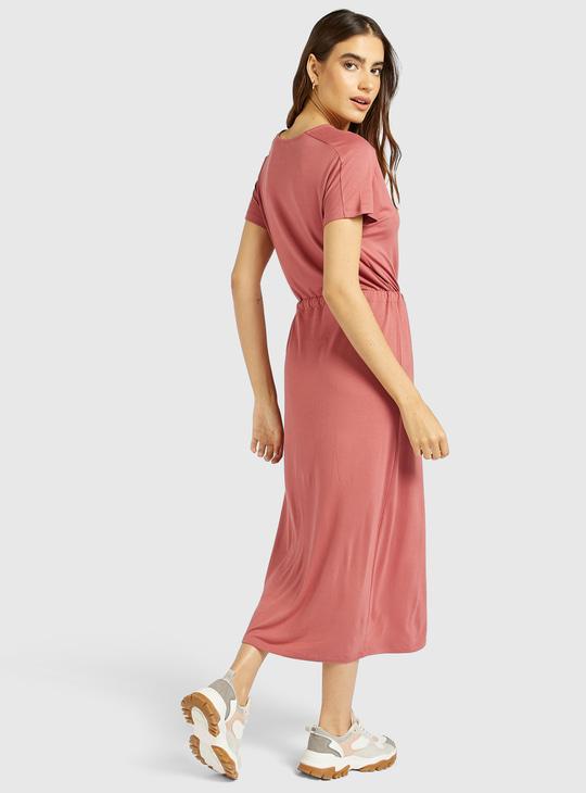 فستان متوسط الطول سادة بياقة مستديرة ورباط