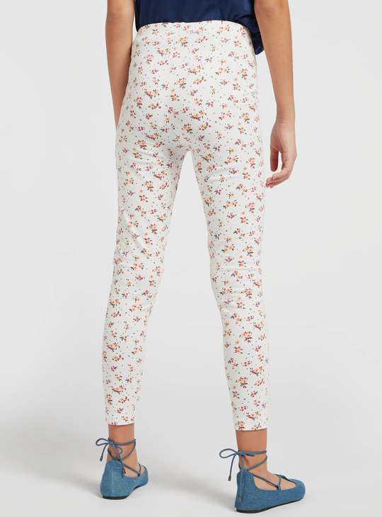 All-Over Floral Print Leggings with Elasticised Waistband
