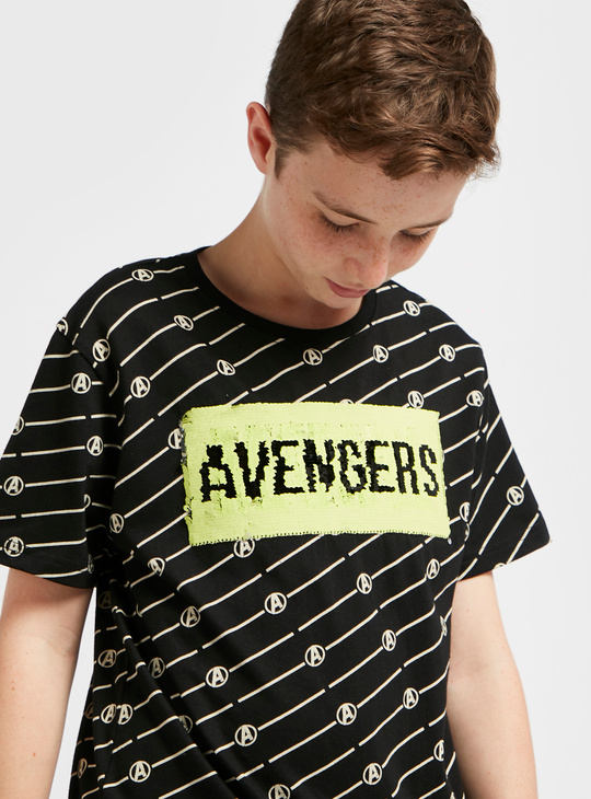 All-Over Avengers Print T-shirt with Short Sleeves and Sequin Detail