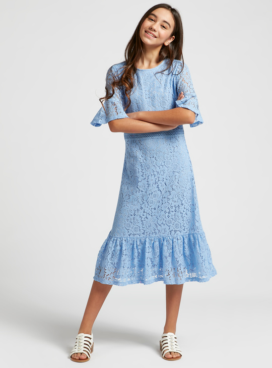 Lace Detail Midi Dress with Short Sleeves and Zip Closure