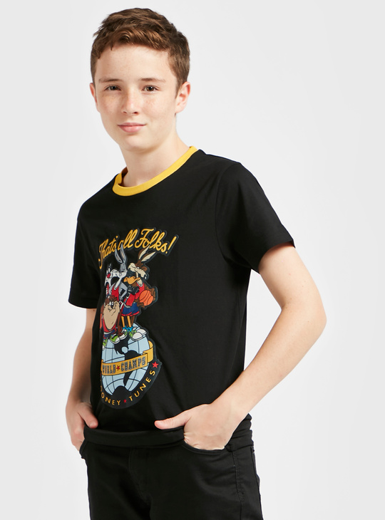 That's All Folks Print T-shirt with Round Neck and Short Sleeves