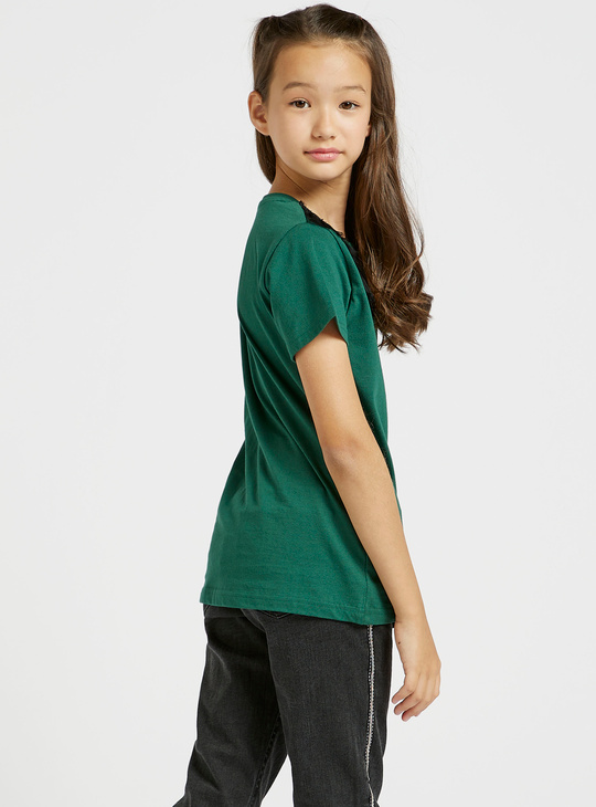 Textured T-shirt with Embellished Frill Detail and Short Sleeves