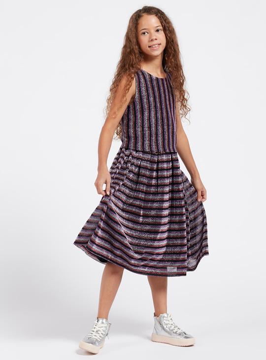 Glitter Accent Midi Sleeveless Dress with Round Neck