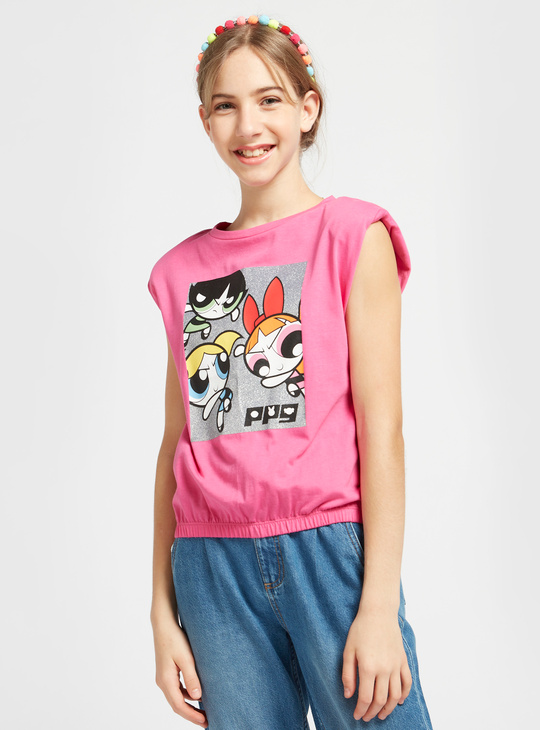 The Powerpuff Girls Graphic Print Sleeveless T-shirt with Round Neck