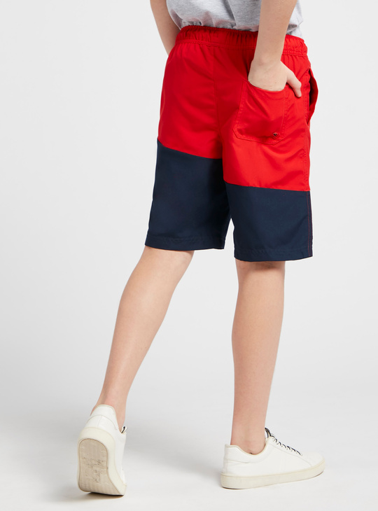 Colourblock Shorts with Pocket Detail and Drawstring Closure