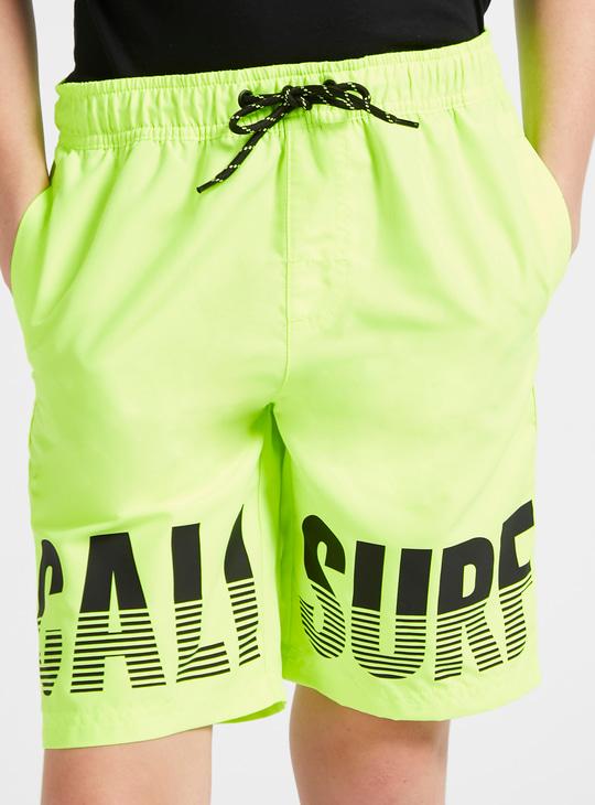 Printed Knee-Length Shorts with Drawstring Closure and Pockets
