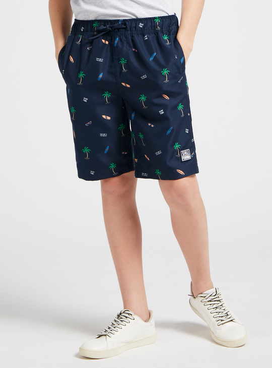 All Over Print Shorts with Drawstring and Pockets