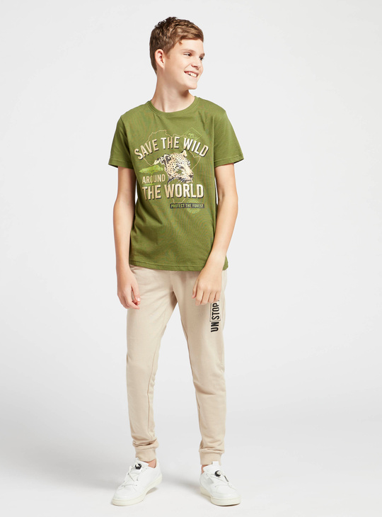 Typographic Print Round Neck T-shirt with Short Sleeves