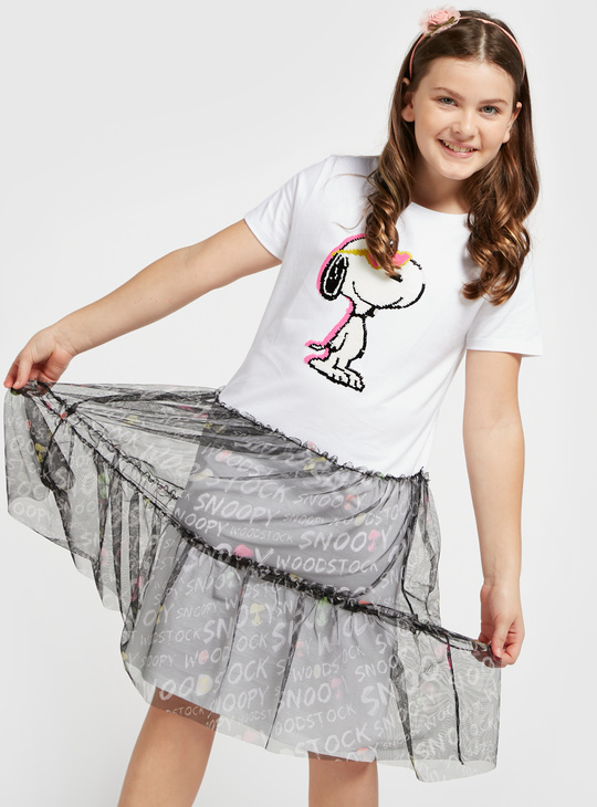 Snoopy Print Dress with Round Neck and Short Sleeves