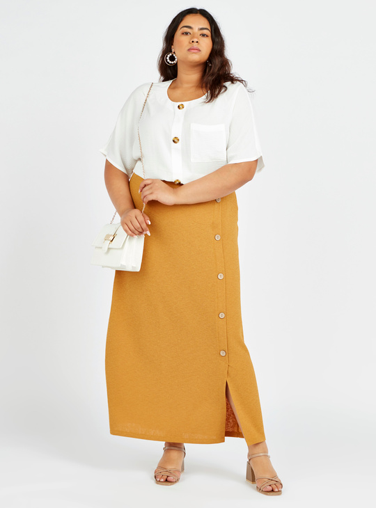Textured Mid-Rise Skirt with Button Detail and Elasticised Waistband