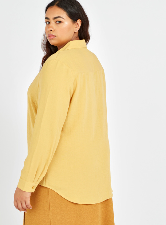 Solid Top with Spread Collar and Long Sleeves