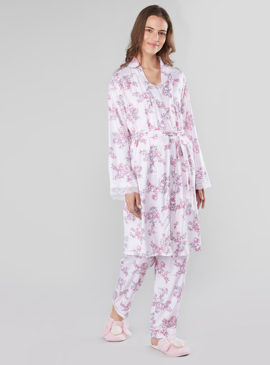 Floral Prints Robe with Long Sleeves and Tie Ups