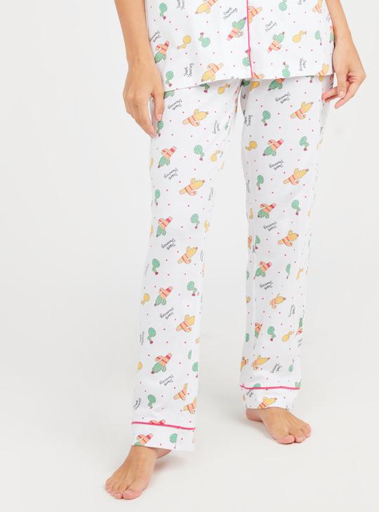 Printed Short Sleeves Shirt and Pyjama Set