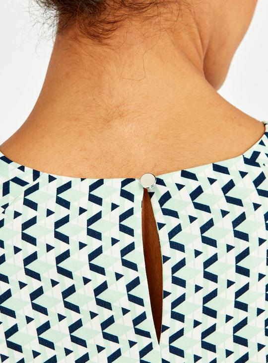 Printed Round Neck Top with Long Bishop Sleeves