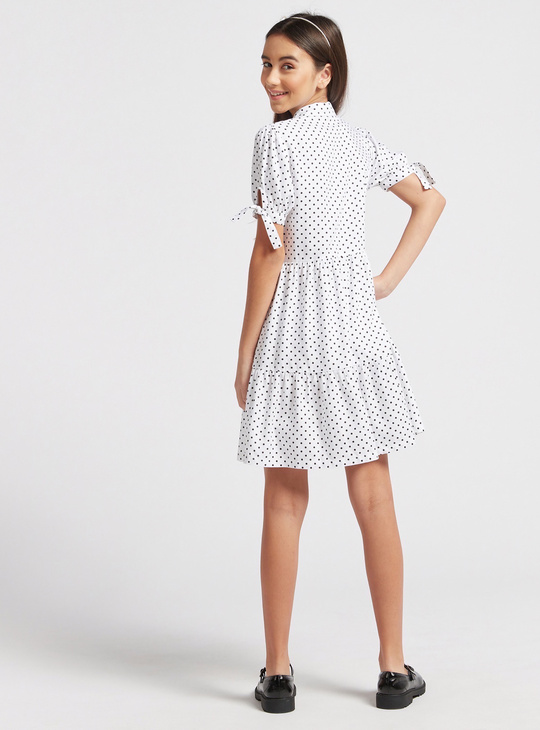 Polka Dot Print Tiered Dress with Short Sleeves and Collar