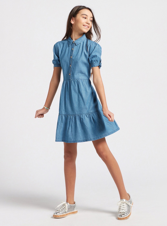 Solid Midi Collared Dress with Tie Up Sleeve Tie-Ups