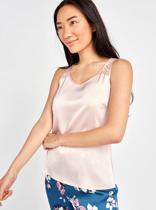Lace Detail Sleeveless Top and Floral Print Pyjamas